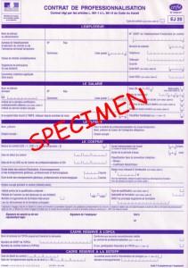 spécimen contrat de professionnalisation en alternance